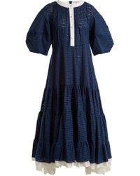 Natasha Zinko - Broderie Anglaise Puff Sleeved Cotton Dress - Lyst