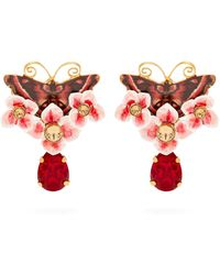 Dolce & Gabbana - Butterfly And Crystal Drop Earrings - Lyst