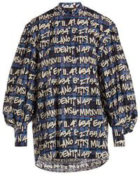 MSGM - Graffitied Tartan-print Cotton Shirt - Lyst