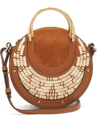 43115d8da362 Chloé Pixie Large Suede And Textured-leather Shoulder Bag in Natural ...