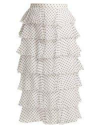 Rodarte - Flocked Polka-dot Chiffon Skirt - Lyst