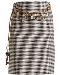Balenciaga - - Houndstooth Chain Belt Pencil Skirt - Womens - Black White - Lyst