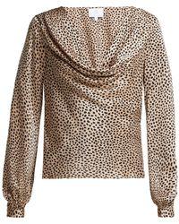 Rebecca de Ravenel - Leopard Print Silk Satin Blouse - Lyst
