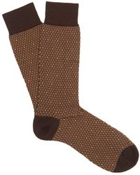 Pantherella - Dalby Diamond-pattern Cotton-blend Socks - Lyst