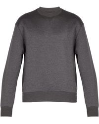 Prada - Sweat-shirt en coton mélangé à manches nervurées - Lyst d4badf705b2