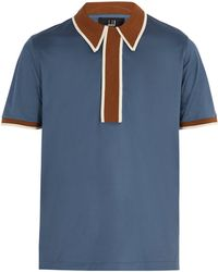 Dunhill - Contrast Panel Cotton Polo Shirt - Lyst