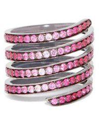 Lynn Ban - Ombré Sapphire, Ruby & Rhodium Silver Coil Ring - Lyst