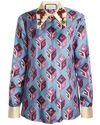 Gucci - Gg Wallpaper-print Embellished Collar Silk Blouse - Lyst