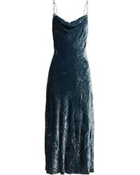 Miu Miu - Cowl Neck Crushed Velvet Dress - Lyst