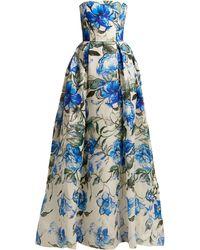 Carolina Herrera - Robe de soirée bustier en soie à imprimé floral - Lyst