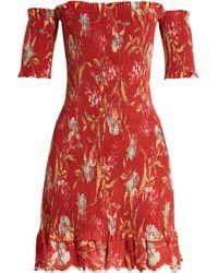 Zimmermann - Corsair Iris Shirred Linen And Cotton Blend Dress - Lyst