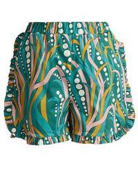 La Doublej Editions - The Ruffle Stretch-cotton Shorts - Lyst