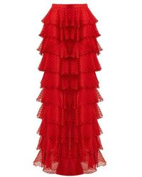 Rodarte - High-rise Tiered Silk-chiffon Skirt - Lyst