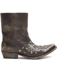 Golden Goose Deluxe Brand - Tribute Studded Leather Ankle Boots - Lyst