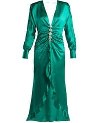 Alessandra Rich - Crystal Embellished Silk Satin Dress - Lyst