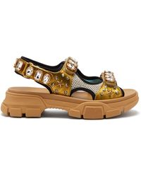 Gucci - Metallic Leather Sandal With Crystals - Lyst