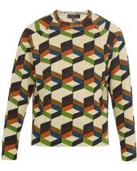Prada - Pull en laine à imprimé géométrique - Lyst