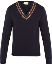 Gucci - V-neck Ribbon-trimmed Wool Sweater - Lyst