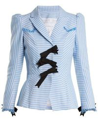 Andrew Gn - Striped Bow-embellished Cotton Jacket - Lyst