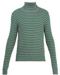 Maison Margiela - Striped Roll-neck Cotton Sweater - Lyst