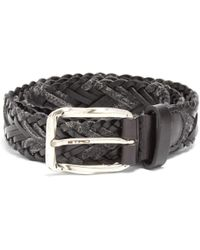 Etro - Woven Melange-knit And Leather Belt - Lyst
