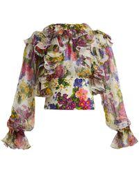 Dolce & Gabbana - Peony And Rose-print Silk-chiffon Blouse - Lyst
