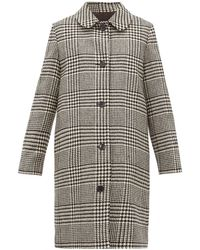 A.P.C. Peel Single Breasted Houndstooth Wool Coat - Black