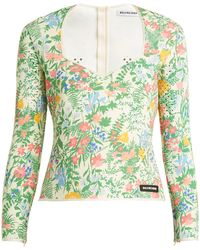 Balenciaga - Floral-print Neoprene Top - Lyst