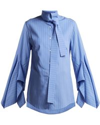 Palmer//Harding - Draped-sleeve Cotton Pussy-bow Shirt - Lyst