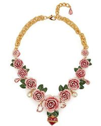 Dolce & Gabbana - Rose-embellished Necklace - Lyst