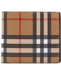 Burberry - House Check Bi Fold Leather Wallet - Lyst