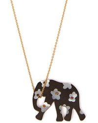 Marc Alary - Elephant 18kt Gold, Ebony & Sapphire Necklace - Lyst