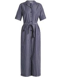 Stella McCartney - Striped Wide-leg Cropped Jumpsuit - Lyst