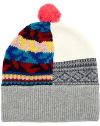 Burberry - Multicoloured Patchwork Cashmere-blend Beanie Hat - Lyst