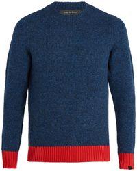 Rag & Bone - Charles Contrast-hem Wool-blend Jumper - Lyst