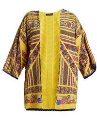Etro - - Multi Print Silk Jacket - Womens - Yellow - Lyst