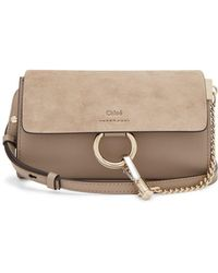 Chloé - Faye Mini Leather And Suede Cross Body Wallet Bag - Lyst