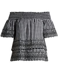 Bliss and Mischief - Gingham Off The Shoulder Cotton Top - Lyst