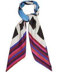 Diane von Furstenberg   Cubic-print Striped Silk Scarf   Lyst