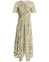 Preen Line - Keziah Floral Print Handkerchief Hem Midi Dress - Lyst