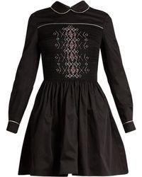Miu Miu | Smocked-front Cotton Mini Dress | Lyst