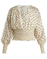 Diane von Furstenberg - Polka-dot Silk Blouse - Lyst