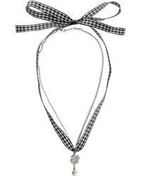 Miu Miu - Gingham Four-leaf Clover Necklace - Lyst