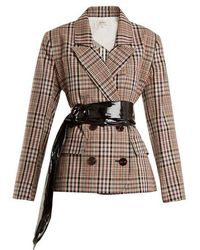 Isa Arfen - Double-breasted Checked Cotton Blazer - Lyst