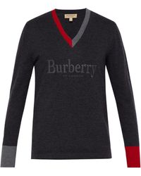 Burberry - Embroidered Logo Merino Wool V-neck Jumper - Lyst