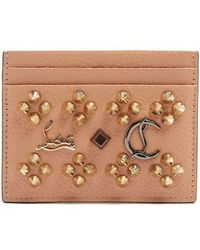 Christian Louboutin - Kios Spike-embellished Leather Cardholder - Lyst