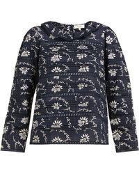 Sea - Tatiana Pintucked Floral Print Cotton Blouse - Lyst