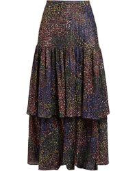 Chloé - Abstract Print Voile Maxi Skirt - Lyst