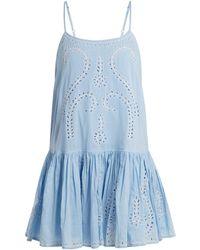 Juliet Dunn - Embroidered Paisley Cut-out Cotton Dress - Lyst