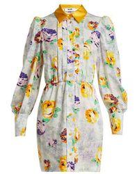 MSGM - Floral-print Cotton Shirtdress - Lyst